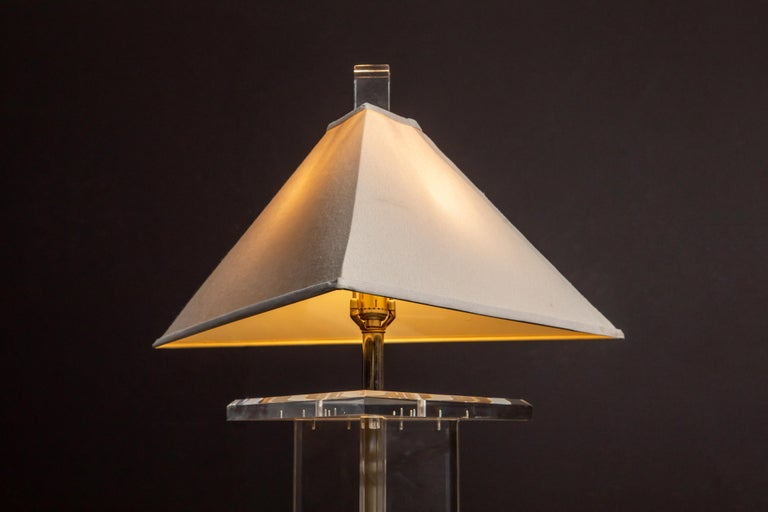 Modern Lucite Floor Lamp by Marlee, circa 1970s, Signed For Sale 7