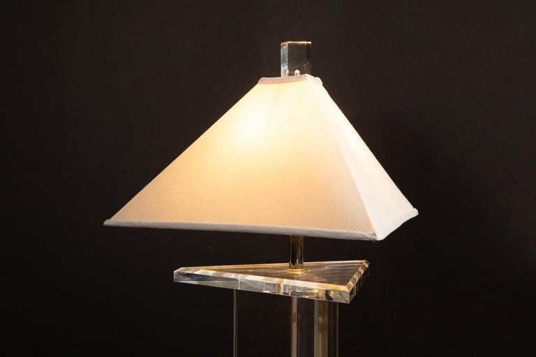 Modern Lucite Floor Lamp by Marlee, circa 1970s, Signed For Sale 8