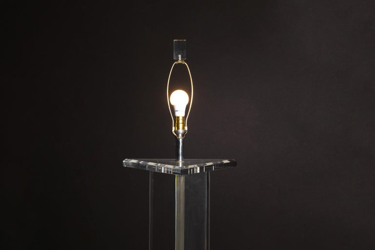 Modern Lucite Floor Lamp by Marlee, circa 1970s, Signed For Sale 9
