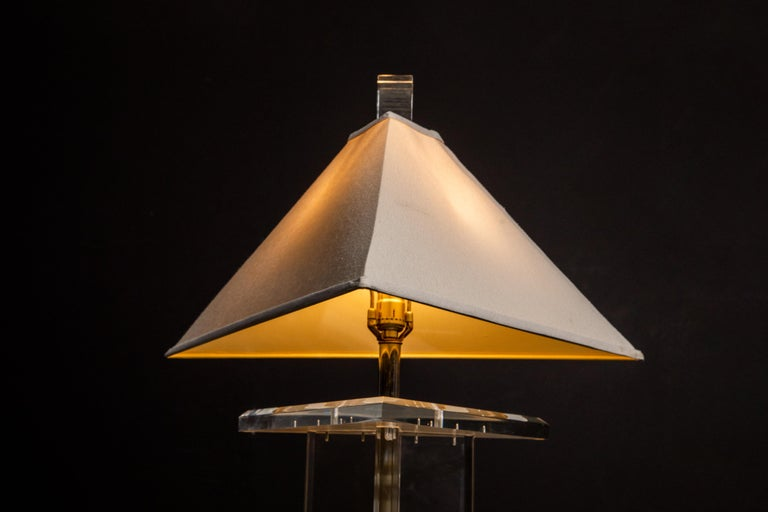 American Modern Lucite Floor Lamp by Marlee, circa 1970s, Signed For Sale