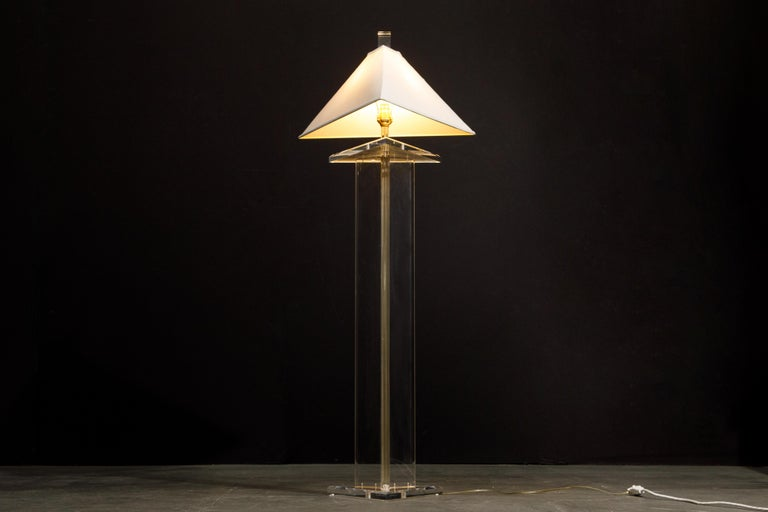 Late 20th Century Modern Lucite Floor Lamp by Marlee, circa 1970s, Signed For Sale