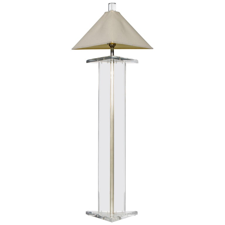 Modern Lucite Floor Lamp by Marlee, circa 1970s, Signed For Sale