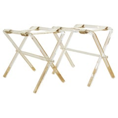 Modern Lucite Folding Luggage Stands