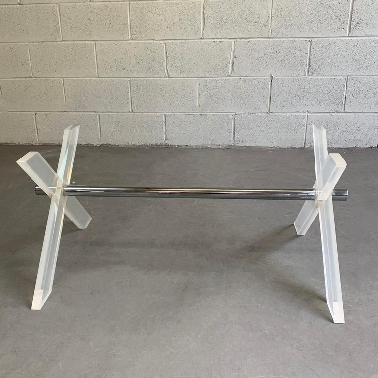 Mid-Century Modern Modern Lucite X-Coffee Table Base For Sale