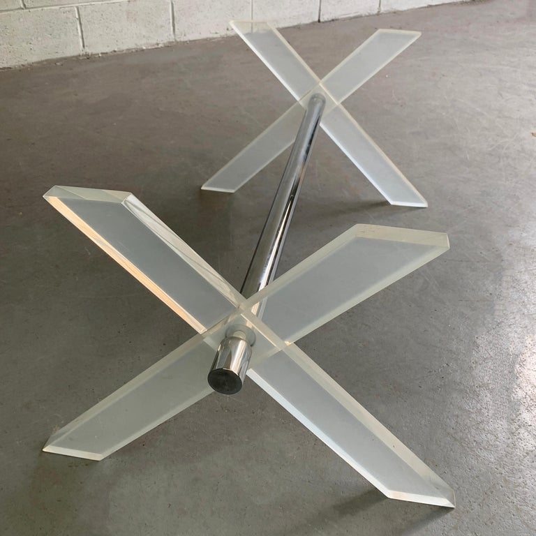 American Modern Lucite X-Coffee Table Base For Sale