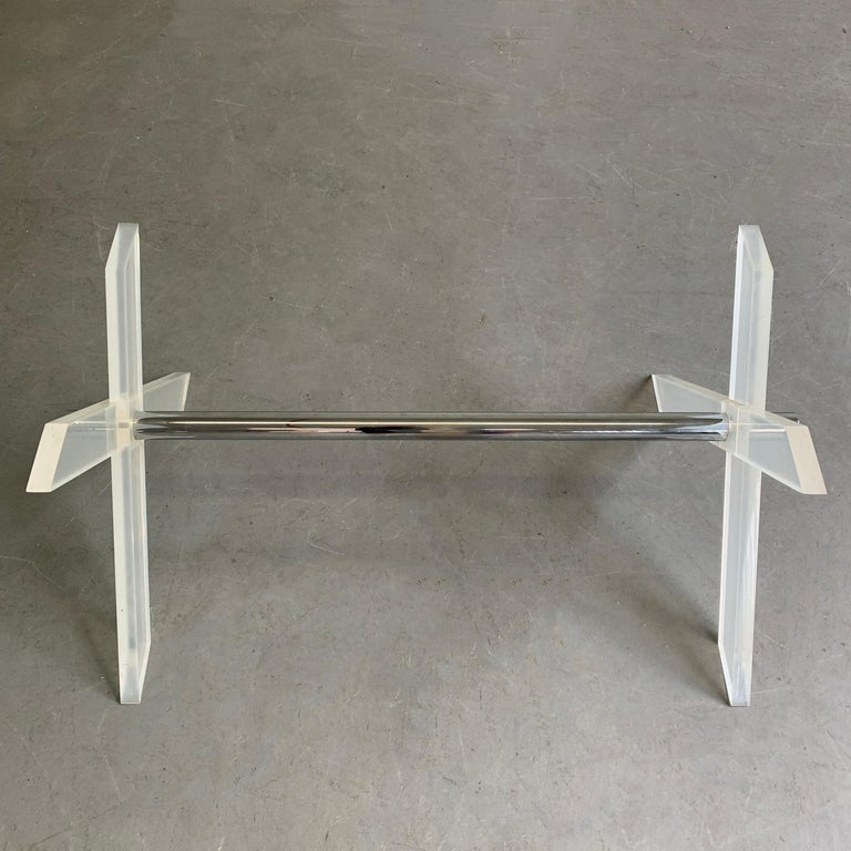 20th Century Modern Lucite X-Coffee Table Base For Sale