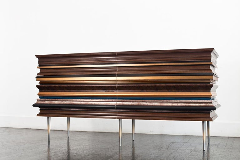 Metal Contemporary Crafted Gold Leaf and Darkened Wood Molding Credenza by Luis Pons For Sale
