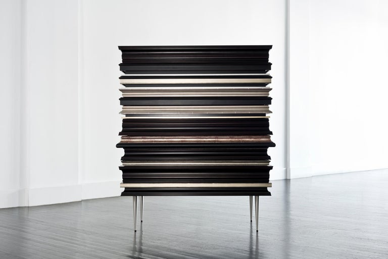 Modern Contemporary Crafted Silver and Darkened Wood Molding Dresser by Luis Pons For Sale