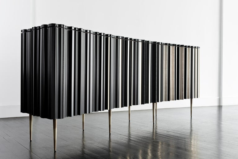 Modern Contemporary Crafted Silver and Darkened Wood Molding Sideboard by Luis Pons For Sale