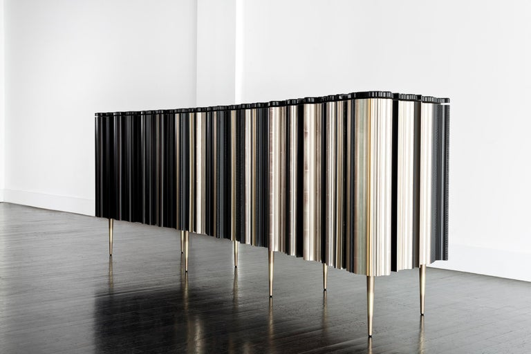 American Contemporary Crafted Silver and Darkened Wood Molding Sideboard by Luis Pons For Sale