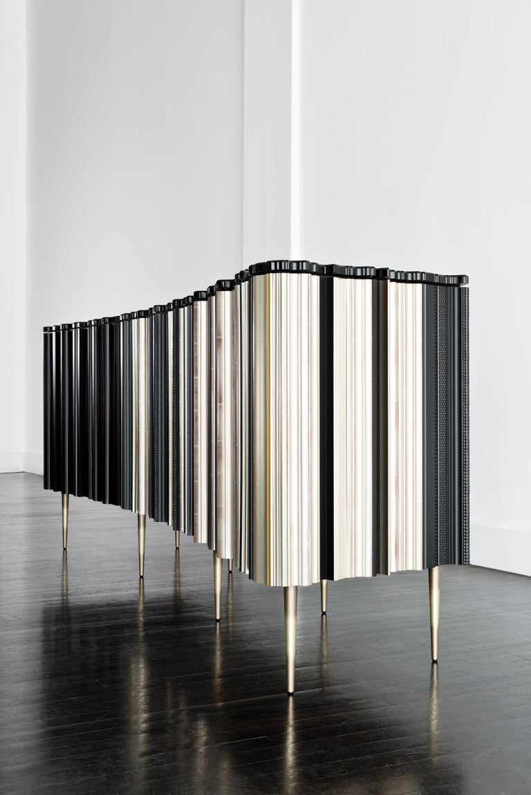 Appliqué Contemporary Crafted Silver and Darkened Wood Molding Sideboard by Luis Pons For Sale
