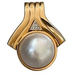 Modern Mabe Pearl 14 Karat Yellow Gold Pendant, Enhancer Style
