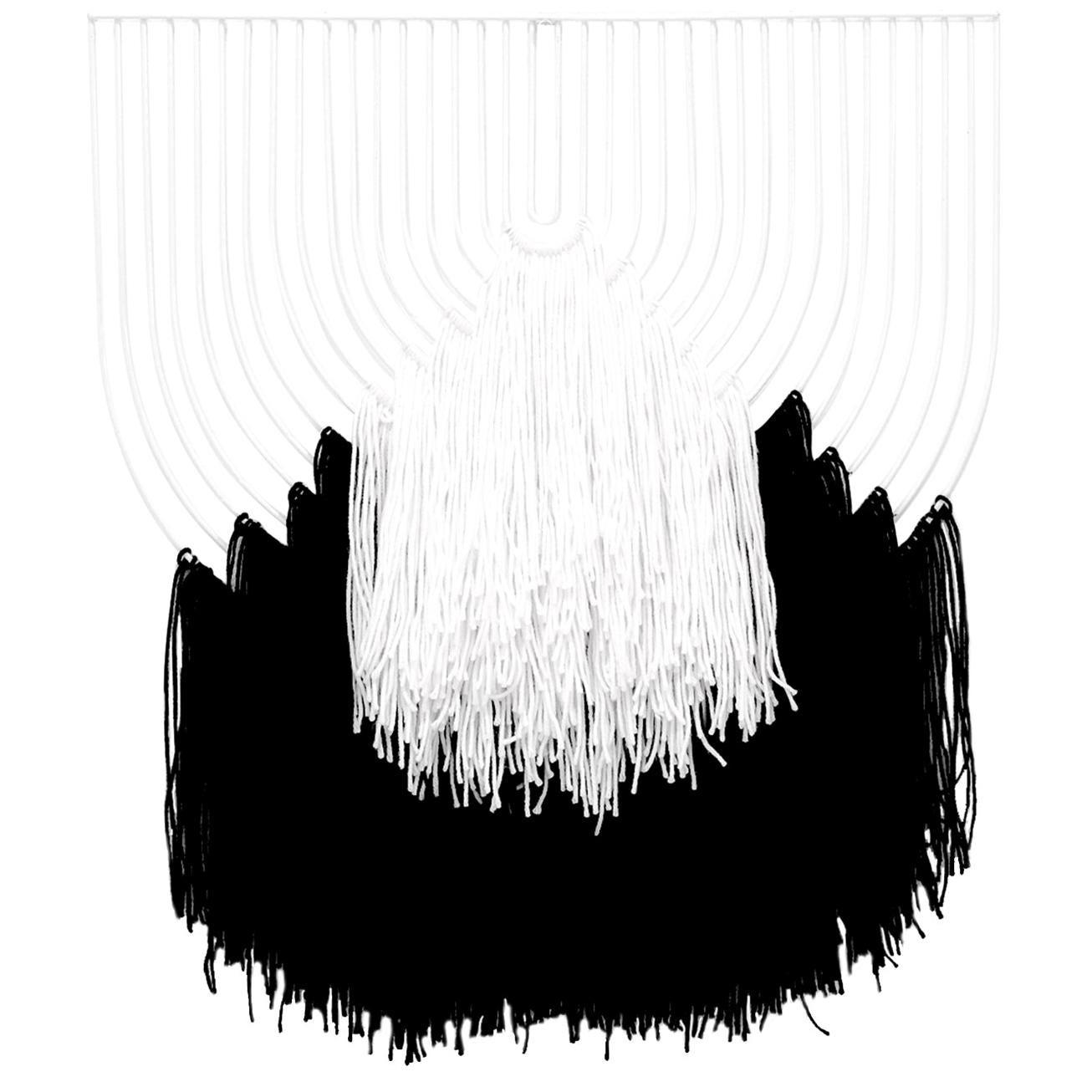 Modern Macrame Art, Wire Macrame Art Piece by Bend Goods, Black/White