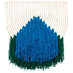 Modern Macrame Art, Wire Macrame Art Piece by Bend Goods, Blue Green