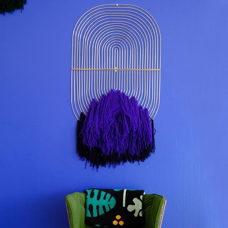 American Modern Macrame Art, Wire Macrame Art Piece by Bend Goods, Deep Green For Sale