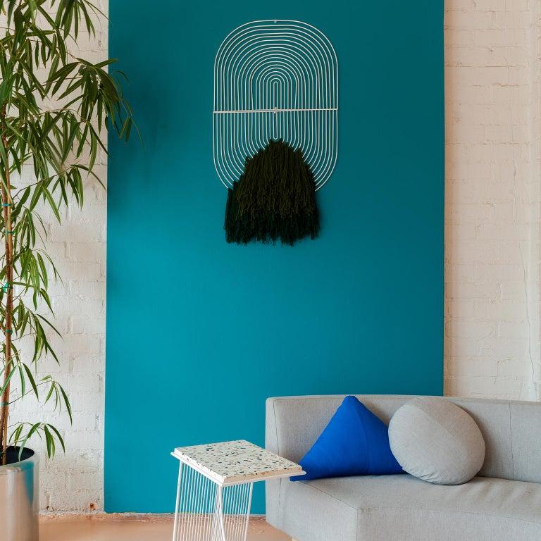 Plated Modern Macrame Art, Wire Macrame Art Piece by Bend Goods, Deep Green For Sale