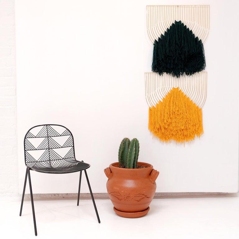 Contemporary Modern Macrame Art, Wire Macrame Art Piece by Bend Goods, Deep Green For Sale