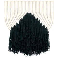 Modern Macrame Art, Wire Macrame Art Piece by Bend Goods, Deep Green