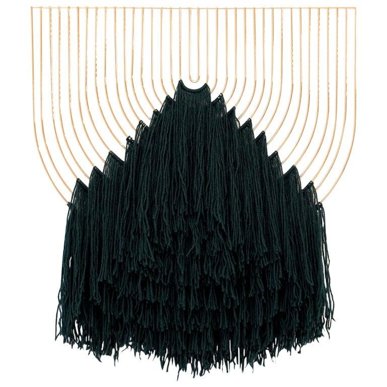 Modern Macrame Art, Wire Macrame Art Piece by Bend Goods, Deep Green For Sale