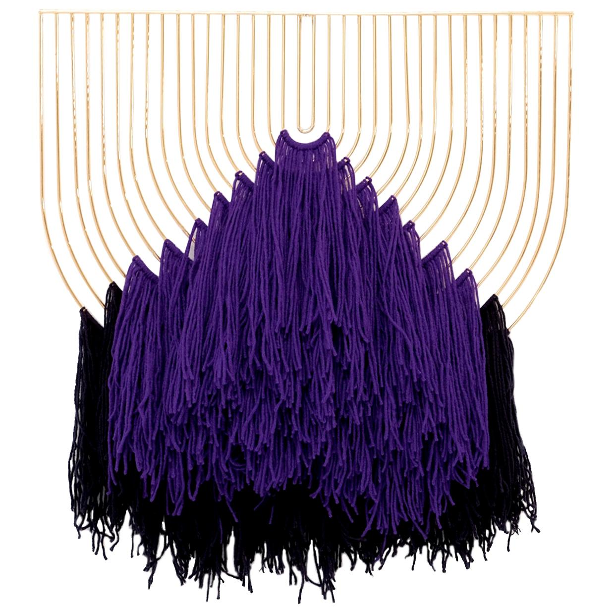 Modern Macrame Art, Wire Macrame Art Piece by Bend Goods, Purple Navy
