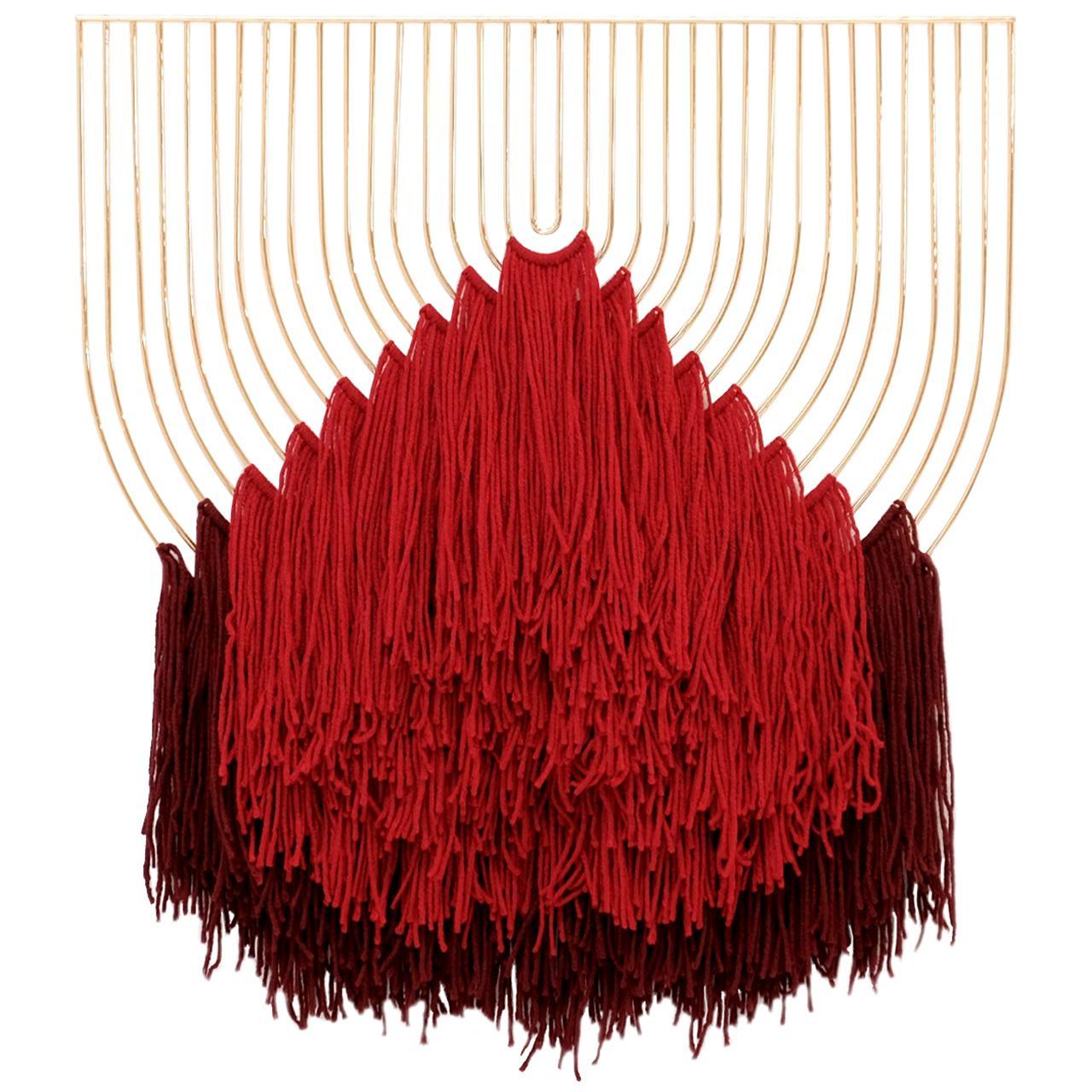 Modern Macramé Art, Wire Macramé Art Piece by Bend Goods, Red Maroon