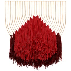 Modern Macramé Art, Wire Macramé Art Piece by Bend Goods, Red Maroon