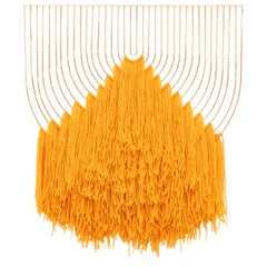 Modern Macrame Art, Wire Macrame Art Piece by Bend Goods, Vintage Yellow