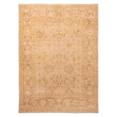 Modern Mahal Transitional Beige and Blue Wool Rug Floral