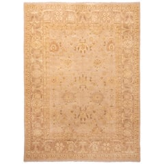 Modern Mahal Transitional Beige and Blue Wool Rug