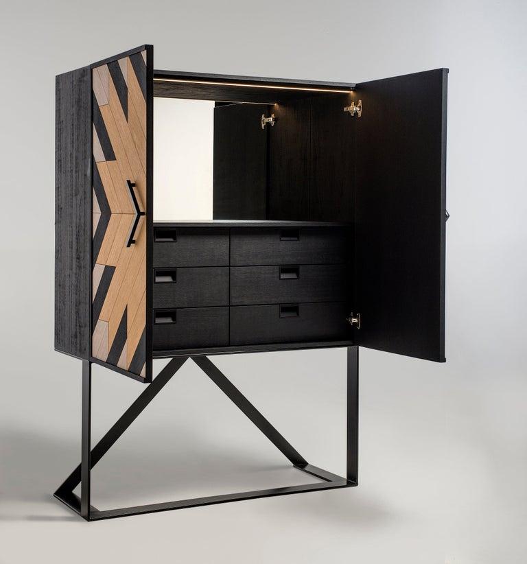 Veneer Modern Bar Cabinet in Black, White and Natural Oak For Sale