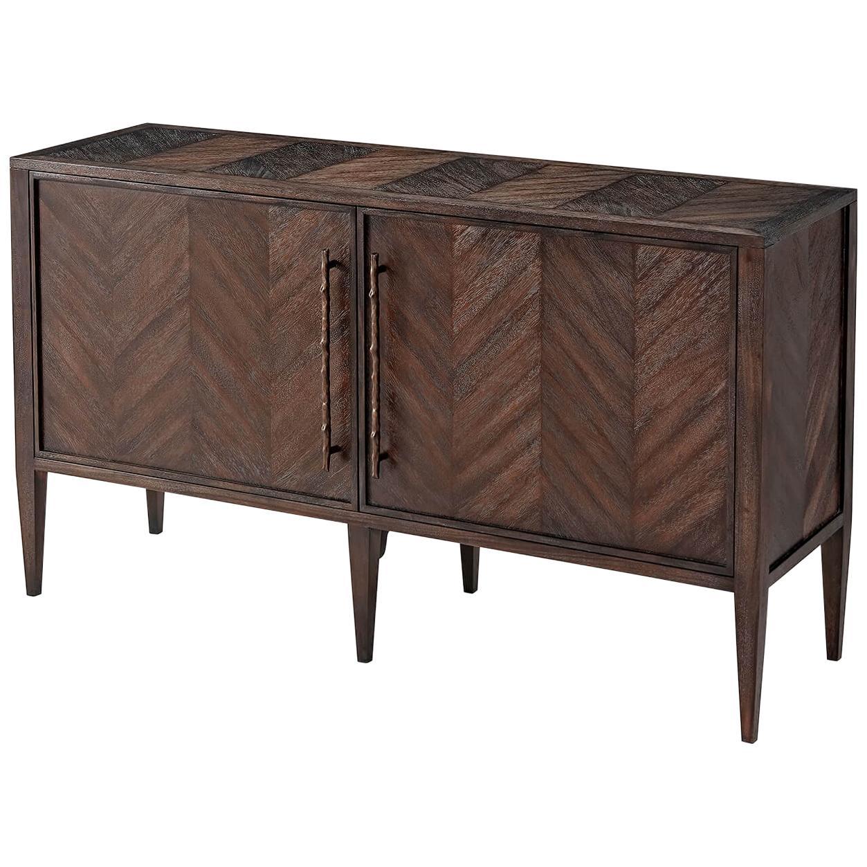 Modern Mahogany Herringbone Cabinet