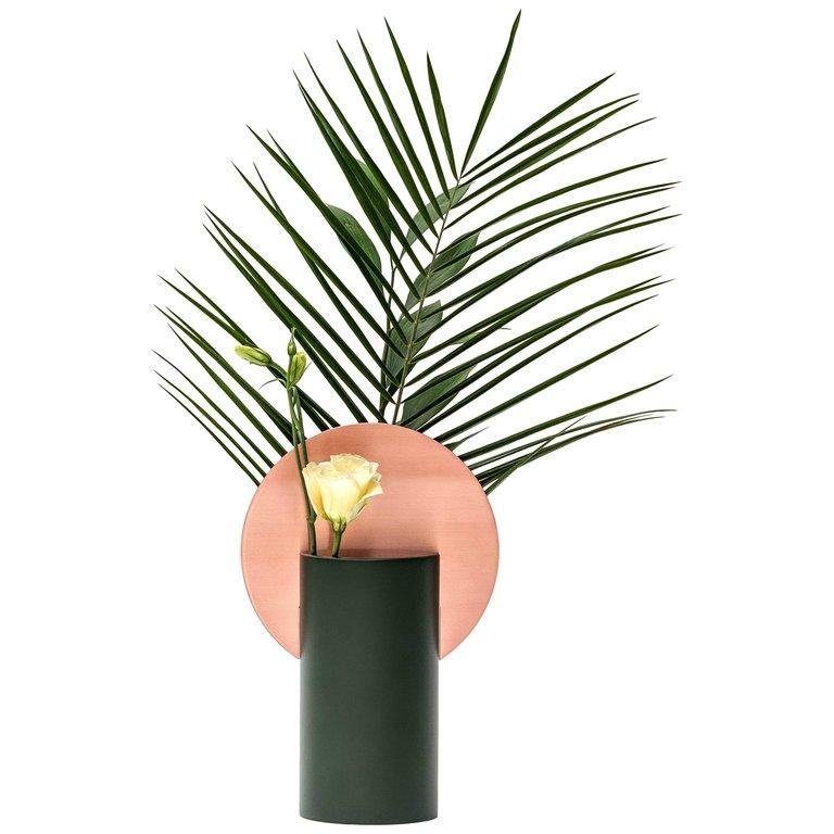 Brushed Modern Malevich Vase Cs1 by Noom in Copper and Painted Steel For Sale