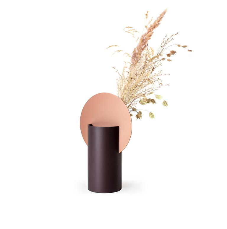 Ukrainian Modern Malevich Vase CS7 by Noom in Copper and Painted Steel For Sale