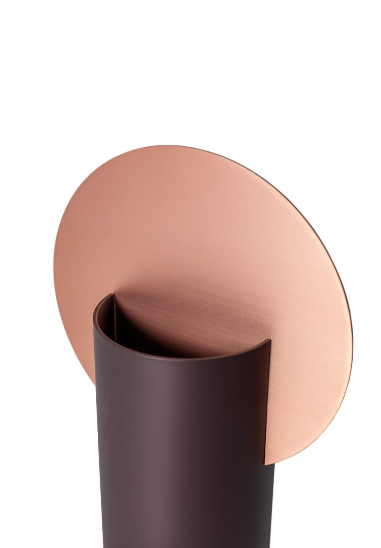 Brushed Modern Malevich Vase CS7 by Noom in Copper and Painted Steel For Sale