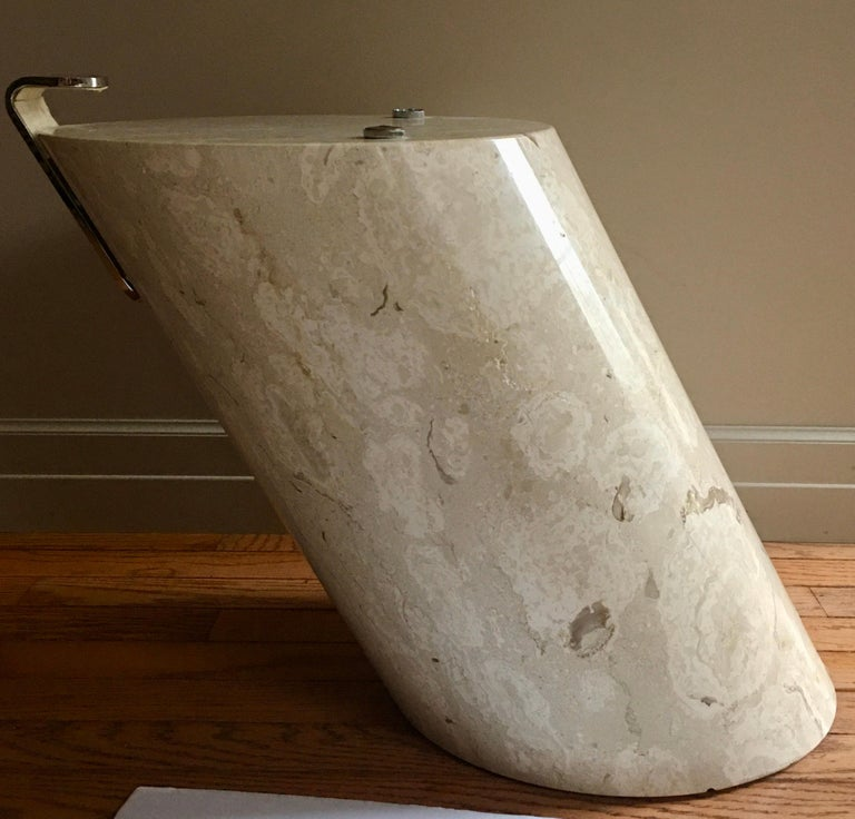 Modern Marble and Oval Glass Cantilevered Coffee Table in the Manner of Brueton In Good Condition For Sale In Lambertville, NJ