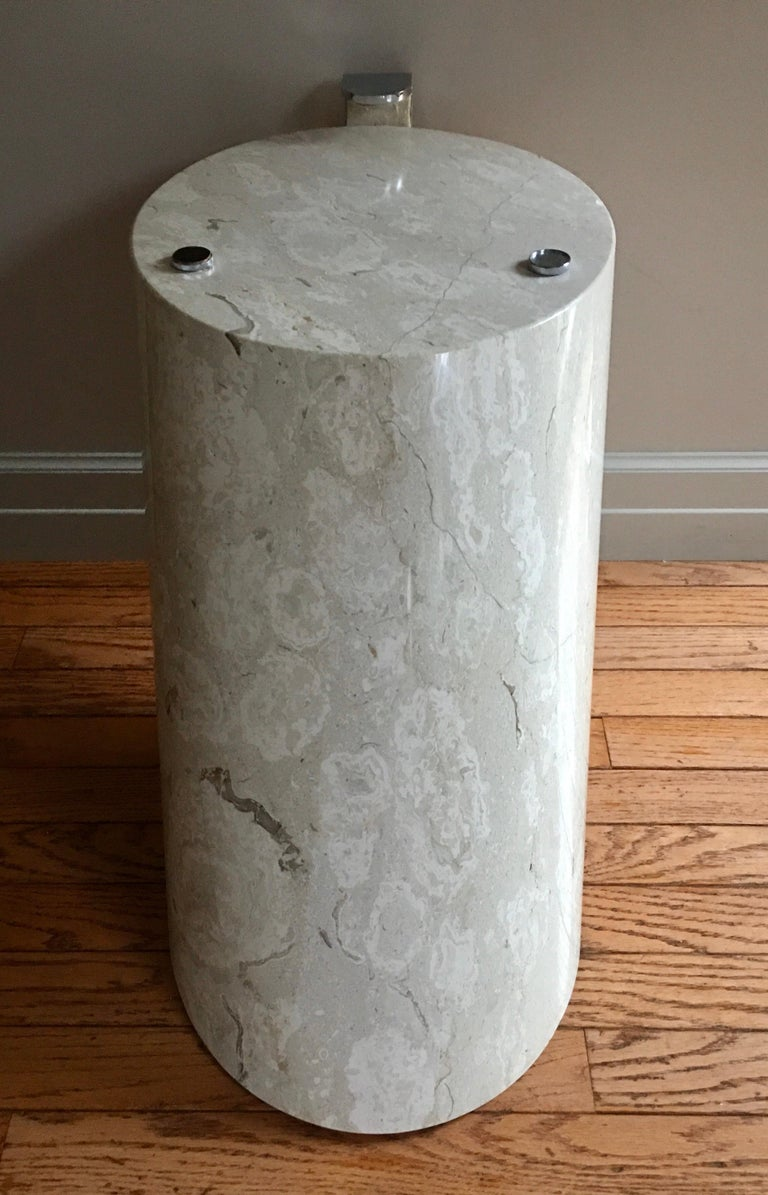 Modern Marble and Oval Glass Cantilevered Coffee Table in the Manner of Brueton For Sale 1
