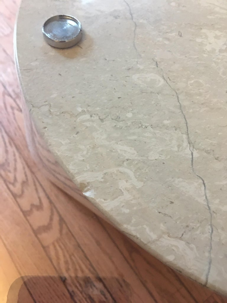 Modern Marble and Oval Glass Cantilevered Coffee Table in the Manner of Brueton For Sale 4