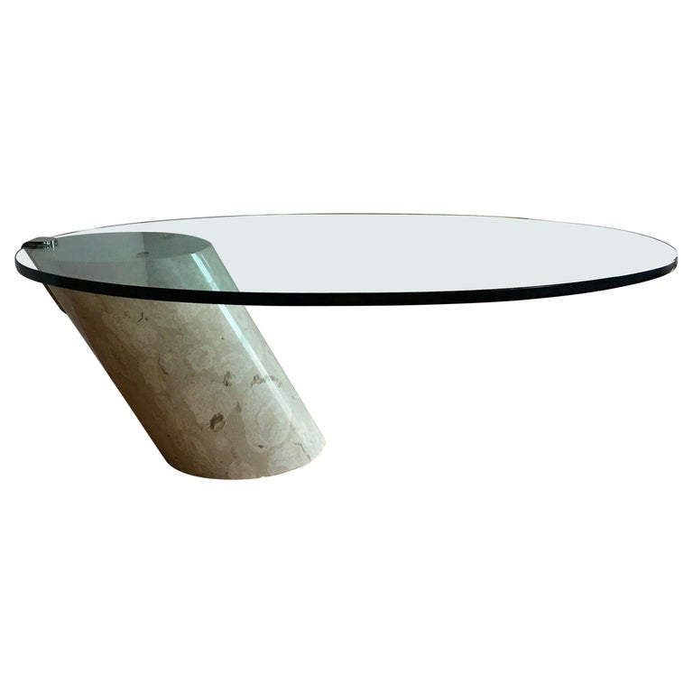 Modern Marble and Oval Glass Cantilevered Coffee Table in the Manner of Brueton For Sale