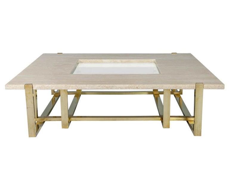 Mid-Century Modern Modern Marble Cocktail Table by Alfredo Freda for Maison Jansen Travertine For Sale