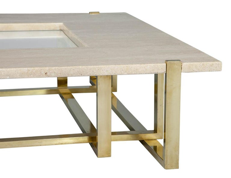 Modern Marble Cocktail Table by Alfredo Freda for Maison Jansen Travertine In Good Condition For Sale In North York, ON