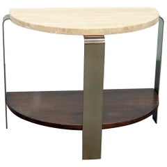 Modern Marble-Top Demilune Console