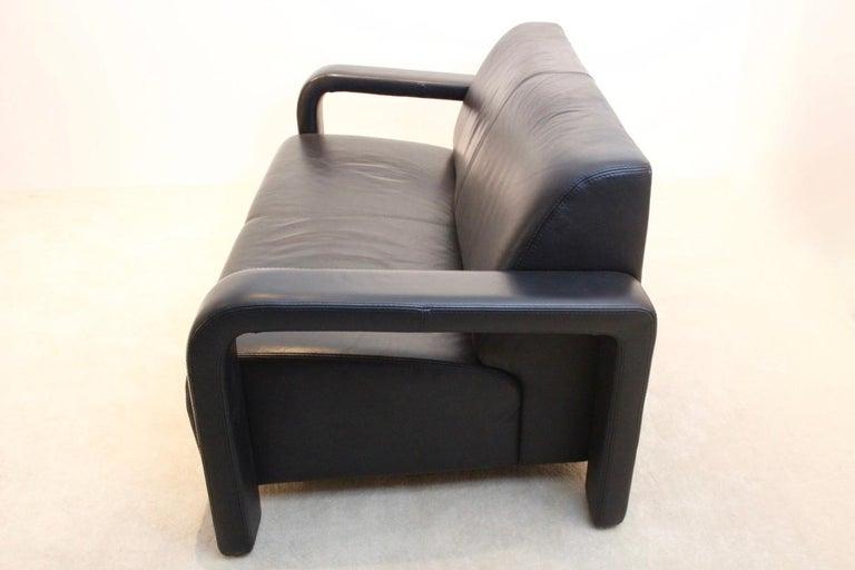 Italian Modern Marinelli Two-Seat Black Leather Sofa, Italy For Sale