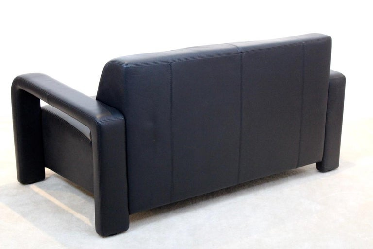 20th Century Modern Marinelli Two-Seat Black Leather Sofa, Italy For Sale