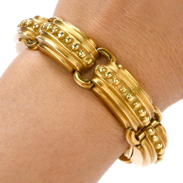 Women's or Men's Modern Marlene Stowe 18 Karat Gold Nautical Link Bracelet For Sale