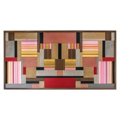 Modern Marquetry and Back Light Glass Wall Piece