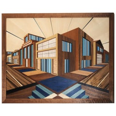 Modern Marquetry and Glass Wall Piece in Blue