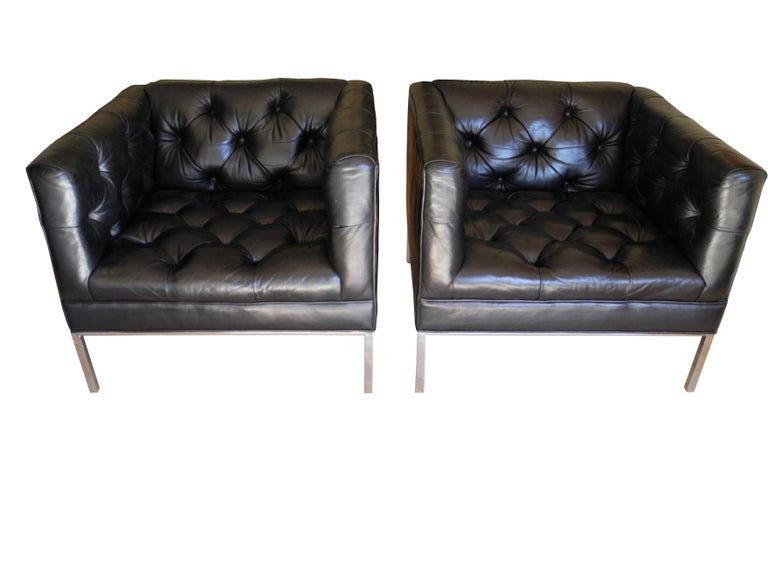 Fantastic Modern Matching Black Leather Tufted Cube Chairs On Stainless Steel Bases Uwap Interior Chair Design Uwaporg