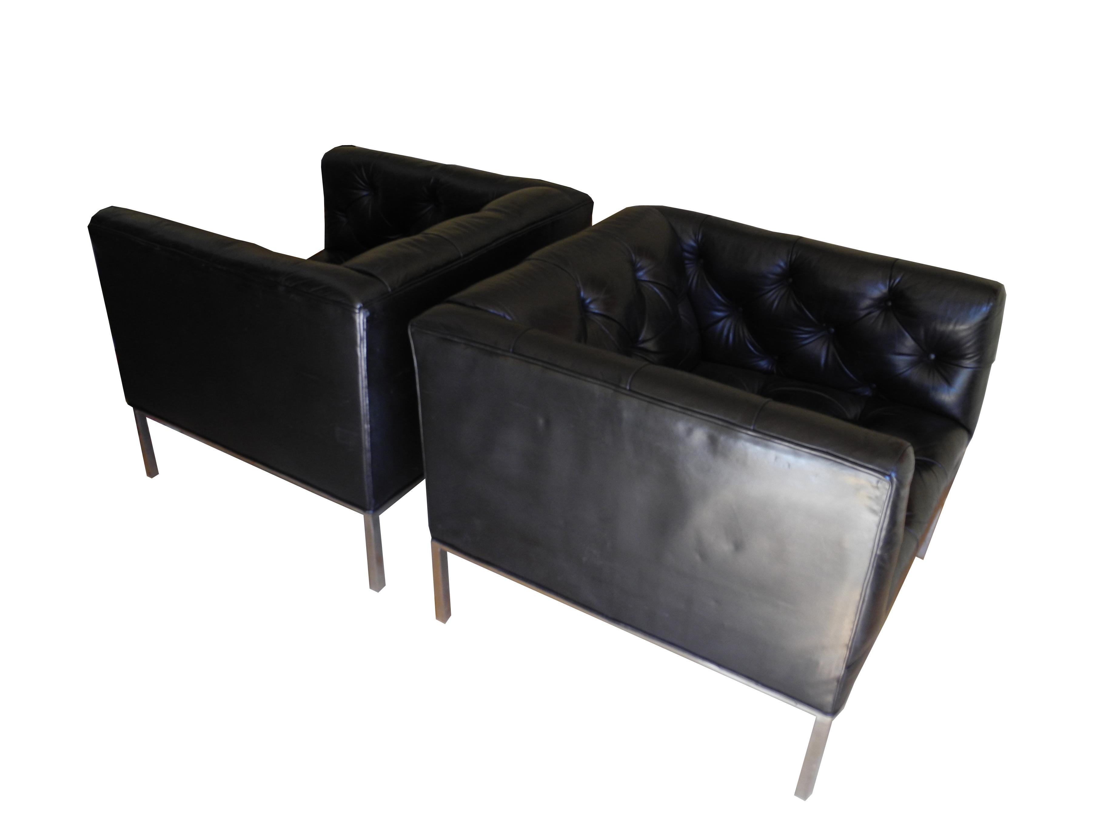 Fabulous Modern Matching Black Leather Tufted Cube Chairs On Stainless Steel Bases Creativecarmelina Interior Chair Design Creativecarmelinacom