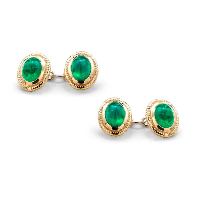 Oval Cut Modern Matching Pair of Cabochon Emerald Gents Double Sides Chain Link Cufflinks For Sale