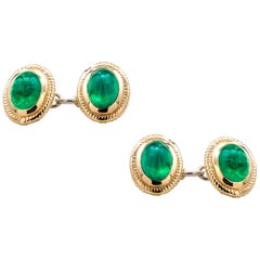 Modern Matching Pair of Cabochon Emerald Gents Double Sides Chain Link Cufflinks